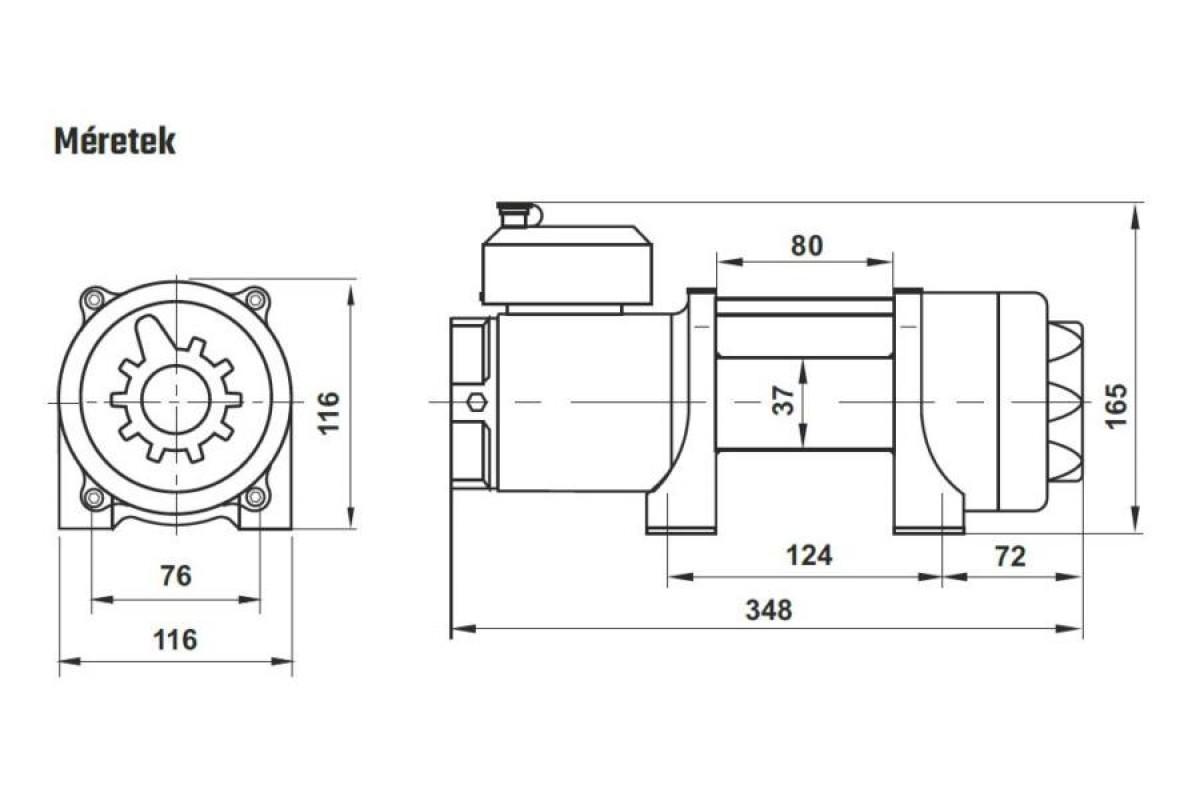 Horn csörlő HPA-3500A-12V szintetikus (dyneema) kötéllel